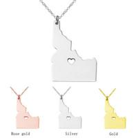 Idaho Kaart Rvs Hanger Ketting met Love Heart Usa State ID Aardrijkskunde Kaart Kettingen Sieraden voor Vrouwen en Mannen