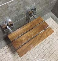 DIYHD 15-3 / 4 인치 현대 티크 나무 접는 샤워 벤치 크롬 벽 마운트 브래킷 욕실 샤워 좌석