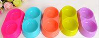 NUEVA alimentador del animal doméstico para los animales domésticos gato perro suministros de alimentos Fuentes de plástico dobles para gatos perros platos de comida de soporte de alta calidad para mascotas en stock