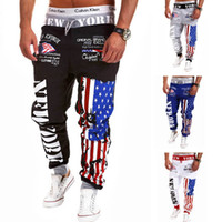 America Flag Pattern Mens Cotton Harem Pants Elastic Waist C...