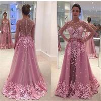 2019 blush rose appliques dentelle robes de bal Sheer Jewel Illusion manches longues robe de soirée sexy voir à travers des robes de soirée sur mesure