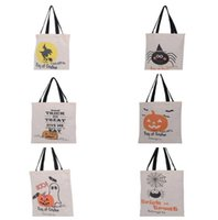 120pcs 6 style Halloween Canvas Drawstring Tote Bag With Pum...
