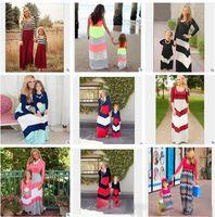 Plus Size Madre e figlia corrispondenza Dress Primavera righe in cotone madre e figlia di vestiti a maniche lunghe in pizzo Family Dress Abbigliamento