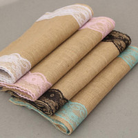 30x275cm Vintage Burlap Lace Hessian Table Runner Natural Ju...