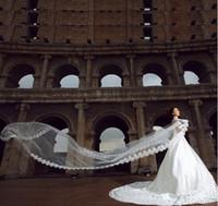 Promoción 5 m Wedding Veil 5 Metres Largo Nupcial Catedral de Calidad Superior Ivory / White Color Lace Mujer Accesorios de Boda
