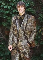 2018 Realtree Camo Düğün Smokin Çiftlik Düğün Kamuflaj Elbise Custom Made Slim Fit Erkek Blazers Moda Damat Giyim (Ceket + Pantolon)