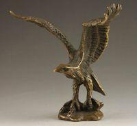 Narin Çin Koleksiyon El Yapımı Eski Oyma Canlı Bronz Heykeli Kartal