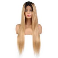 Длинные цветные фронтные кружева человеческие волосы парики с младенцем безразличных натуральных волос бразильского реми Омбре цвет 1b до 27 мёд блондинки