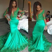 Sexy Green 2019 Mermaid Prom Dresses Long Sheer Deep V Neck Long Sleeves Elastic Satin Lace Appliques Beaded African Black Girl Vestido de noche