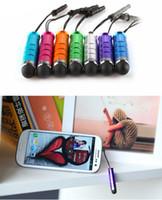 1000pcs / lot Unviersal Mini Stylus Touch Pen مع سد الغبار للهاتف المحمول