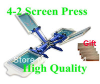 خصم الشحن المجاني مع هدية 4 لون 2 محطة الطباعة الحريرية آلة شيرت طابعة الصحافة معدات كاروسيل الممسحة