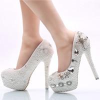 Zapatos de la boda de la perla blanca más tamaño EE. UU. 12 plataforma rhinestone cruzado Zapatos de ceremonia de boda nupcial Mujeres Bombas de vestido de banquete