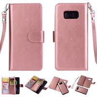 2 в 1 магнитный съемный кожаный бумажник чехол с 9 карточками слот фоторамка для iPhone X XR XS макс. 8 7 6 Plus Samsung S8 S9 Plus Note 9 8