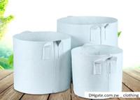 Atacado jardim sacos de crescimento para flores vasos de plantas não-tecido breve prastical reutilizável crescer vasos de plantio saco com alças