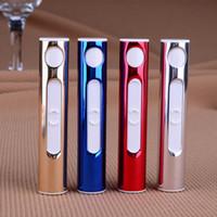 Electornic USB Çakmak Dişi Kullanılan Yuvarlak Alevsiz Çakmaklar Rüzgar Geçirmez Moda Metal Çakmaklar