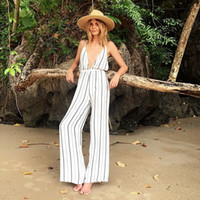 Wholesale- Strap Plunge Deep V Neck Sexy Backless Loose Vertical Striped Print White Wide Leg Jumpsuit Casual Palazzo Pants Jumpsuit Romper