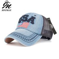 80eb518df5f Joymay Brand Summer Mesh Baseball cap for Men and Women American Flag  Embroidery Adjustable Fashion Leisure Casual Vintag Snapback Hat B445