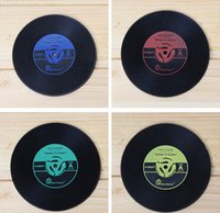 Wholesale- 2pcs lot Retro Record Black Cup Mats Anti- skid Pa...