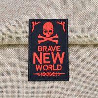 10 PZ Red Punk Skull Badges Patch per Abbigliamento Ferro Ricamato Patch Applique Iron Cucire su Patch Accessori per cucire per fai da te