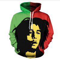 Novità Moda Donna / Uomo Bob Marley Divertente 3D Stampa Casual girocollo con cappuccio Plus Size LMS00014