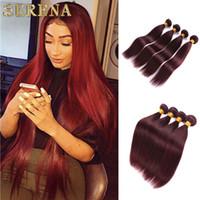 Цвет 99J красное вино прямые человеческие волосы ткет 4 шт. лот 10-30 дюймов бордовый цвет наращивание волос бразильский прямой / тела волна человеческих волос