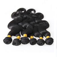شعر الإنسان النسيج الطبيعي اللون الأسود 6pcs حزم البرازيلي شعر الجسم موجة