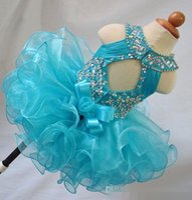 Jewel Crystal Backless Girl's Pageant Dresses Arco Organza Flor Girls Beads Cupcake Kids Toddler Glitz Prom Infant Ball Ball Ball Balls