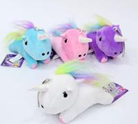 Pendentif en peluche mignon de Licorne Jouets Keyring poupées douces animaux en peluche sac à chaîne ornements