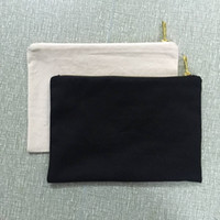 Bolsa de cosméticos de algodón natural en blanco de 7x10 pulgadas Bolsa de cosméticos de lona natural de 12 oz Bolsa de maquillaje negro liso con cremallera de metal dorada