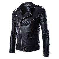 Toptan Satış - Erkek Lokomotif Deri Ceketler Moda Marka Coat Biker Ceket erkek Homme Jaqueta Couro Masculina PU Deri Erkek Punk Veste