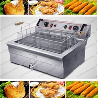 2017 NUEVO 220V / 4.8KW 20L Máquina profunda comercial de la freidora eléctrica solo cilindro con el temporizador de las patatas fritas de pollo frito MYY de gran capacidad