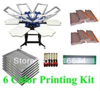 سريع ومجاني الشحن شاشة الطباعة الحريرية SIX اللون 6 محطة كيت معدات الصحافة امتدت إطار ممسحة
