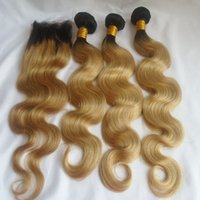 Ombre Human Hair Bundles With Lace Closure T1b 27 Peruvian B...