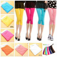 Summer Women' s Candy Colors Seamless Stretchy Calf Legg...