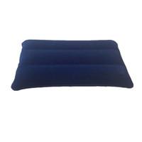 1 unid al aire libre portátil inflable aire inflable almohada de doble cara acolchado flocado para viajes avión hotel caliente en todo el mundo
