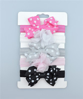 5pcs lot Baby Girls Ribbon Bow Headbands Infant Silk Bowknot...