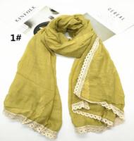 c747e109882b Vente chaude solide couleur dentelle frangé écharpe châle pashmina femmes  musulman hijab mode doux 10 pcs   lot