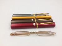높은 품질 울트라 펜 슬림 골드 트림 독서 안경 금속 미니 튜브 리더 10pcs / lot 무료 배송
