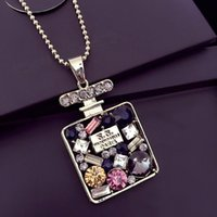 Women Crystal Pendant Necklaces All- match Winter Sweater lon...