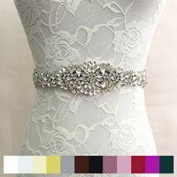 2020 Nova Venda Quente em Estoque Moda Cristal Rhinestone Cinto De Casamento Bridal Frisado Sash Colorido Vestido De Noiva Sashes Cintos Fast Shipping