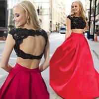 2016 Modest Due pezzi Prom Dresses Sexy Black Sheer Beaded Lace Applique Jewel Neck Elegante Red A-Line aperto indietro Satin Evening Party Dress