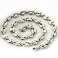Free Ship 18 '' - 32 '' Elija la longitud del acero inoxidable de la plata de los granos de café Cadena de collar de 9 mm de ancho para mujeres joyas de hombres