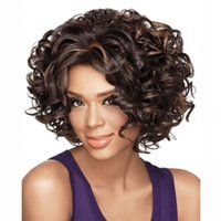 Short Bob Cheap Afro Curly Fluffy Synthetic Hair Wigs Dark B...