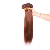 Бразильские прямые человеческие волосы плетение необработанные ременные наращивания волос светло-коричневый 4 # Цвет 100 г / ПК можно окрашено без окрашивания