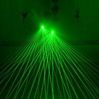 녹색 빨간색 레이저 장갑 4pcs 532nm 80mW LED 레이저 빛 춤 단계 빛나는 야자 빛 조명 DJ 클럽 KTV 쇼 장갑에 대 한