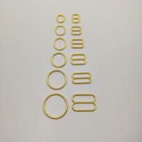 Freies Verschiffen 50 Sätze / Los Büstenhalterwölbungszusätze vergoldeten Büstenhalter O-Ringe und Bügelgleiter Nickel und Eisen geben frei