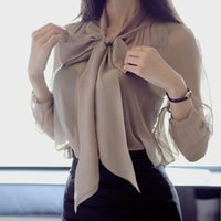 Fashion OL Ruched Charming Bow Button Blouse Ruffled Neck Lo...