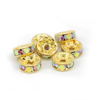 Granos del Rhinestone del AB del cristal del color del oro 6mm 8mm 10mm 12mm Rondelle Spacer Beads 100pcs / pack para la joyería de la pulsera que hace DIY, IA01-06