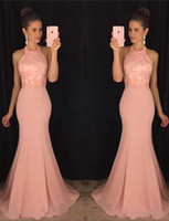 2017 New Fashion elegante Halter Sleeeless sirena Sexy Back Evening Dress Charme rosa chiffon formale Sweep Train abiti da sera