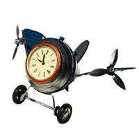 Table Clocks Retro Aircraft Model Clock Metal Electronic Hou...